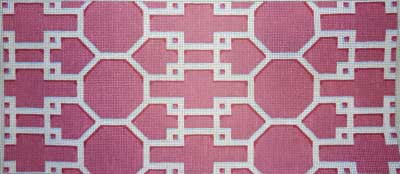 click here to view larger image of Pink and White Lattice (hand painted canvases)