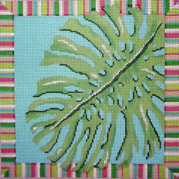 click here to view larger image of Palm Leaf / Stripes (hand painted canvases)