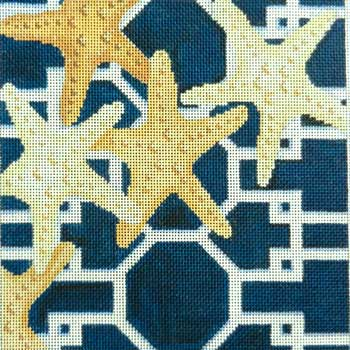 click here to view larger image of Starfish on Lattice / Navy (hand painted canvases)