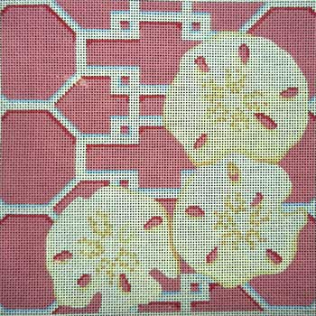 click here to view larger image of Sand Dollars on Lattice / Pink (hand painted canvases)