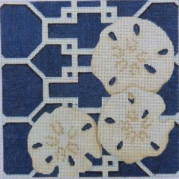 click here to view larger image of Sand Dollars on Lattice / Navy (hand painted canvases)