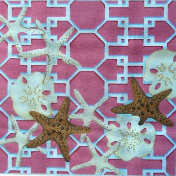 click here to view larger image of Starfish / Sand Dollars Lattice (hand painted canvases)