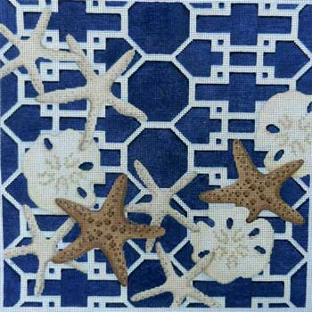 click here to view larger image of Starfish / Sand Dollars Lattice / Navy (hand painted canvases)
