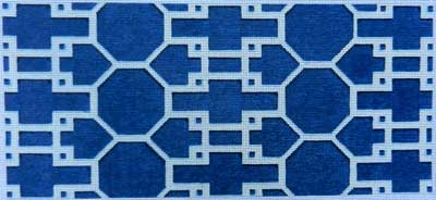 click here to view larger image of Navy / White Lattice Bolster (hand painted canvases)
