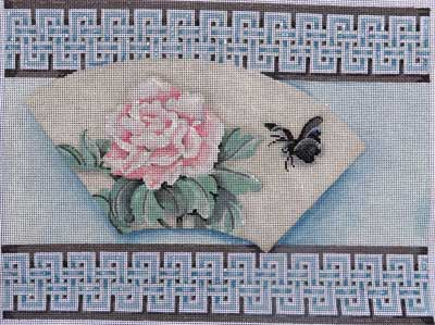 click here to view larger image of Fan / Peony Double Key Border (hand painted canvases)