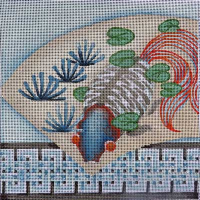 click here to view larger image of Fan / Fish Double Key Border (hand painted canvases)