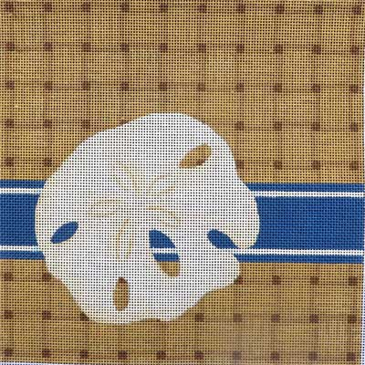click here to view larger image of Sand Dollar / Wicker Square (hand painted canvases)