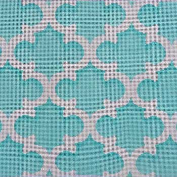 click here to view larger image of Quatrefoil Aqua / White (hand painted canvases)