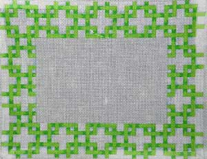 click here to view larger image of Lattice Frame Green / White (hand painted canvases)