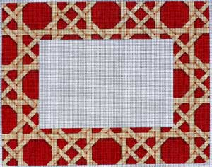 click here to view larger image of Camel / Red Caning Pattern Frame (hand painted canvases)