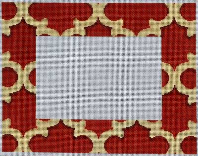 click here to view larger image of Red / Camel Quatrefoil Frame (hand painted canvases)