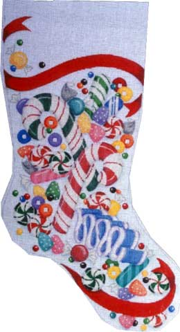 click here to view larger image of Candy Stocking (hand painted canvases)