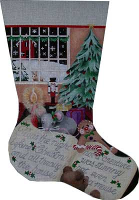 click here to view larger image of Twas The Night Large Stocking (hand painted canvases)