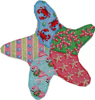 click here to view larger image of Flamingo / Crabs / Starfish Patch Starfish (hand painted canvases)
