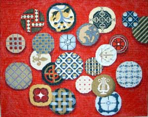 click here to view larger image of Sues Buttons Red Rectangle (hand painted canvases)