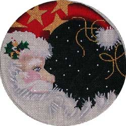click here to view larger image of Santa / Moon Round (hand painted canvases)