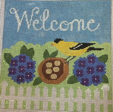 click here to view larger image of Welcome with Goldfinch (hand painted canvases)