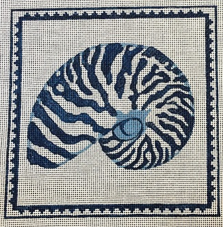 click here to view larger image of Nautilus Shell in Blue Larger (hand painted canvases)