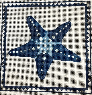 click here to view larger image of Star Fish in Blues (hand painted canvases)
