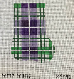 click here to view larger image of Plaid Mini Sock Purple Greens (hand painted canvases)
