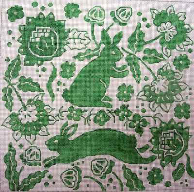 click here to view larger image of Bunnies w Flowers in Green (hand painted canvases)