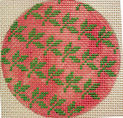 click here to view larger image of Green Leaves on Pink (hand painted canvases)