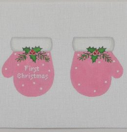 click here to view larger image of Baby's First Christmas Mittens - Pink (hand painted canvases)