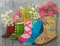 click here to view larger image of Children's Rainboots (hand painted canvases)