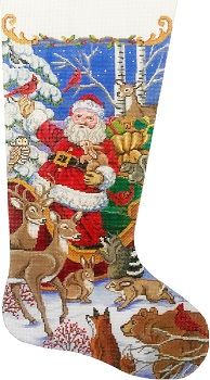 click here to view larger image of Santa's Animal Gathering Stocking (hand painted canvases)