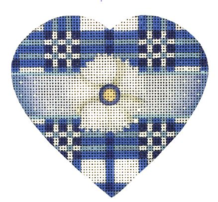 click here to view larger image of Blue and White Plaid Heart (hand painted canvases)