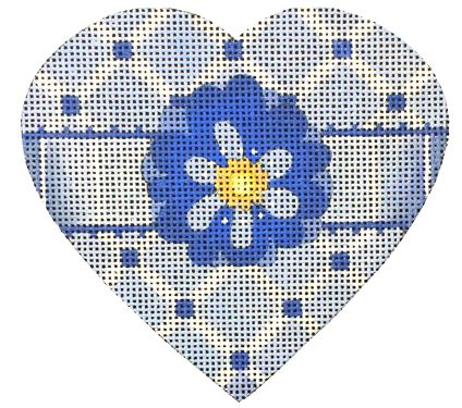 click here to view larger image of Blue and White Diamond Heart (hand painted canvases)