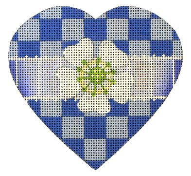 click here to view larger image of Blue Check Heart (hand painted canvases)