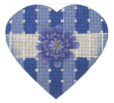 click here to view larger image of Blue and White Striped Heart (hand painted canvases)