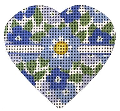 click here to view larger image of Blue and White Floral Leaves Heart (hand painted canvases)