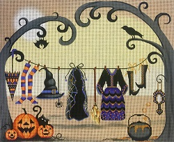 click here to view larger image of Witches Clothesline (hand painted canvases)
