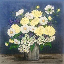 click here to view larger image of Floral Vase II (hand painted canvases)