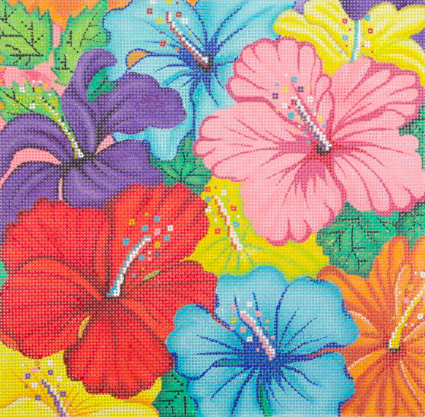 click here to view larger image of Bright Hibiscus (hand painted canvases)