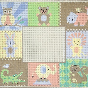 click here to view larger image of Animal Patchwork Birth Announcement (hand painted canvases)