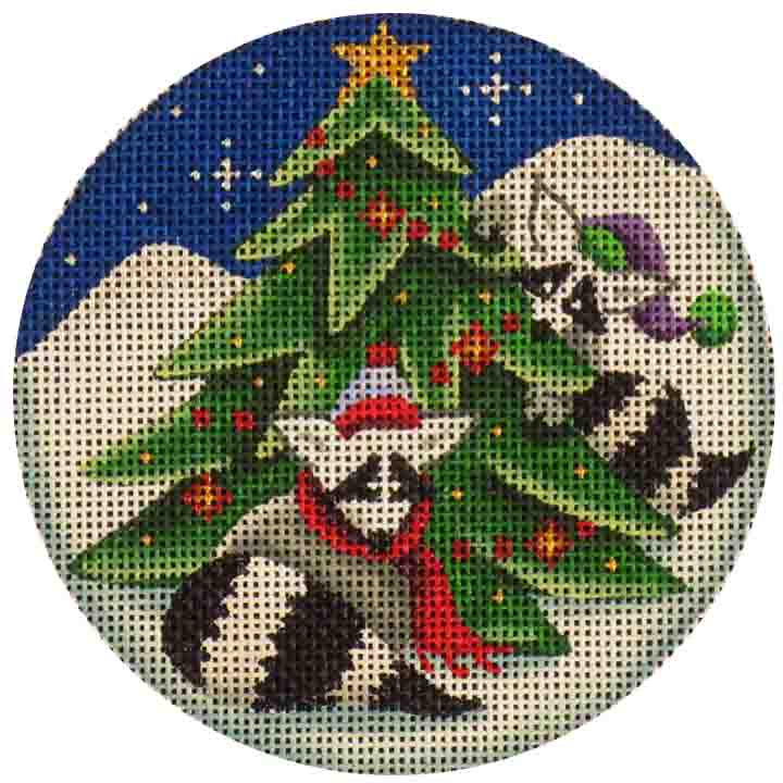 click here to view larger image of Raccoons Decorating (hand painted canvases)