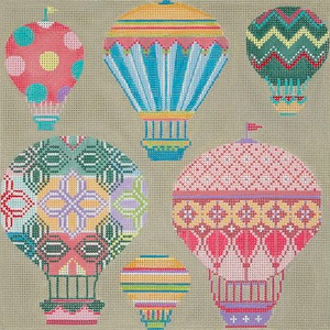 click here to view larger image of Pastel Balloons In Flight (hand painted canvases)