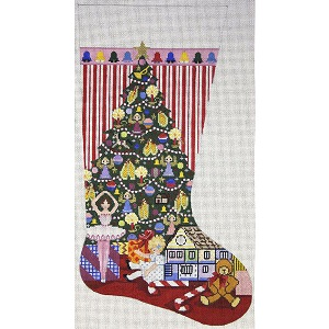 click here to view larger image of Christmas Morning Stocking (hand painted canvases)