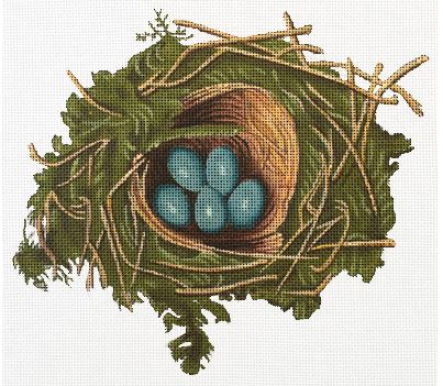 click here to view larger image of Nest With Blue Eggs (hand painted canvases)