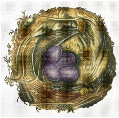 click here to view larger image of Nest With Purple Eggs (hand painted canvases)