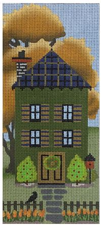 click here to view larger image of Dark Green Autumn House (hand painted canvases)