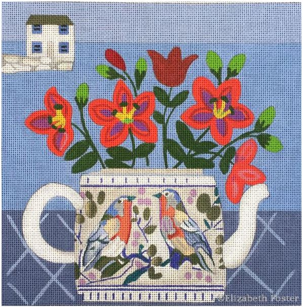 click here to view larger image of Tea Pot Bouquet (hand painted canvases)