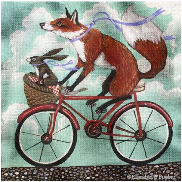 click here to view larger image of Fox & Rabbit Bike Ride (hand painted canvases)