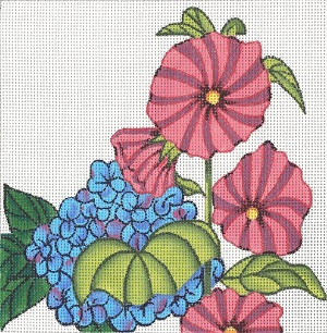 click here to view larger image of Hollyhocks Mini (hand painted canvases)