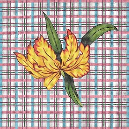 click here to view larger image of Tulips / Plaid (hand painted canvases)