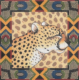 click here to view larger image of Cheetah / Tribal Border (hand painted canvases)