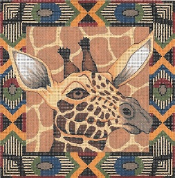 click here to view larger image of Giraffe / Tribal Border (hand painted canvases)